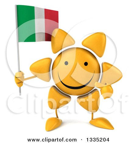 Clipart of a 3d Happy Sun Character Holding and Pointing to an Italian Flag - Royalty Free Illustration by Julos
