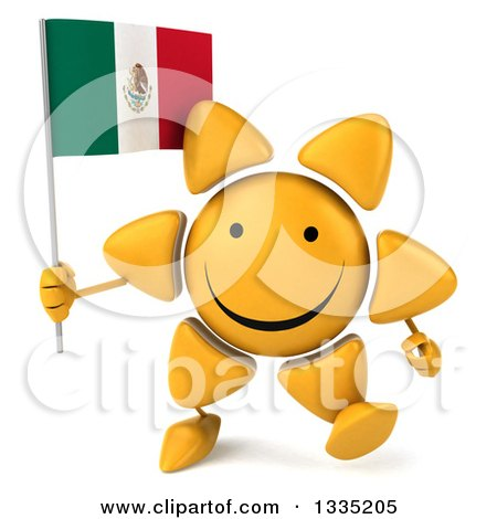 Clipart of a 3d Happy Sun Character Walking and Holding a Mexican Flag - Royalty Free Illustration by Julos