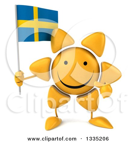 Clipart of a 3d Happy Sun Character Holding and Pointing to a Swedish Flag - Royalty Free Illustration by Julos