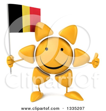 Clipart of a 3d Happy Sun Character Giving a Thumb up and Holding a Belgian Flag - Royalty Free Illustration by Julos