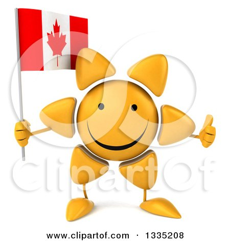 Clipart of a 3d Happy Sun Character Giving a Thumb up and Holding a Canadian Flag - Royalty Free Illustration by Julos