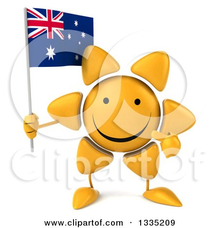 Clipart of a 3d Happy Sun Character Holding and Pointing to an Australian Flag - Royalty Free Illustration by Julos