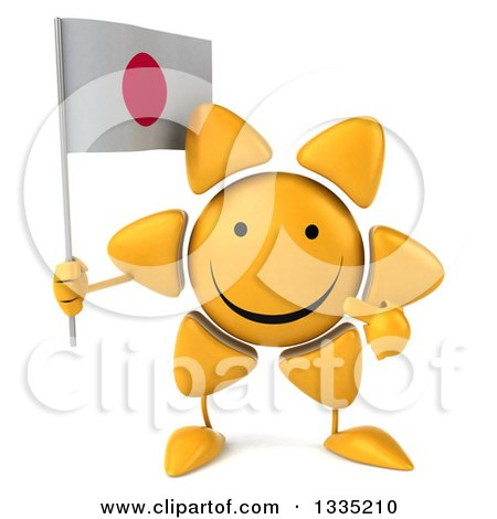 Clipart of a 3d Happy Sun Character Holding and Pointing to a Japanese Flag - Royalty Free Illustration by Julos