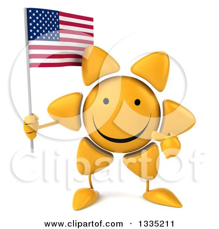 Clipart of a 3d Happy Sun Character Holding and Pointing to an American Flag - Royalty Free Illustration by Julos