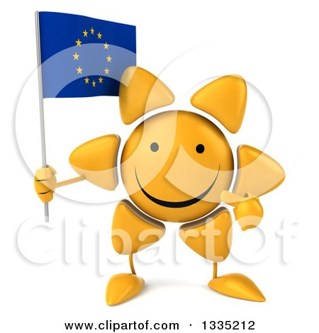 Clipart of a 3d Happy Sun Character Holding and Pointing to a European Flag - Royalty Free Illustration by Julos