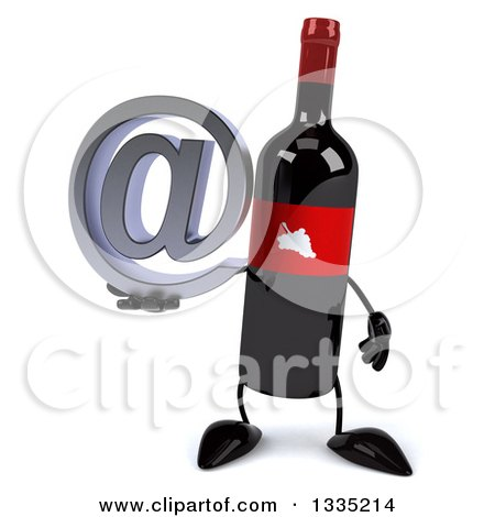 Clipart of a 3d Wine Bottle Mascot Holding an Email Arobase at Symbol - Royalty Free Illustration by Julos