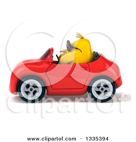 Clipart of a 3d Chubby Yellow Bird Chicken Wearing Sunglasses and Driving a Red Convertible Car 2 - Royalty Free Vector Illustration by Julos