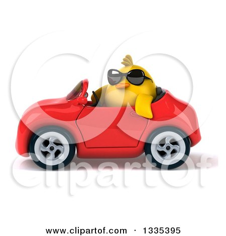 Clipart of a 3d Chubby Yellow Bird Chicken Wearing Sunglasses and Driving a Red Convertible Car 3 - Royalty Free Vector Illustration by Julos
