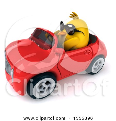 Clipart of a 3d Chubby Yellow Bird Chicken Wearing Sunglasses and Driving a Red Convertible Car 4 - Royalty Free Vector Illustration by Julos