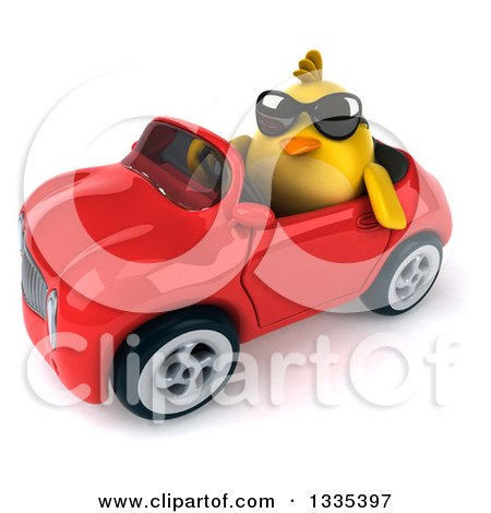 Clipart of a 3d Chubby Yellow Bird Chicken Wearing Sunglasses and Driving a Red Convertible Car 5 - Royalty Free Vector Illustration by Julos
