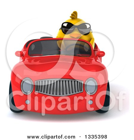 Clipart of a 3d Chubby Yellow Bird Chicken Wearing Sunglasses and Driving a Red Convertible Car - Royalty Free Vector Illustration by Julos