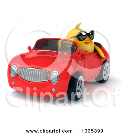Clipart of a 3d Chubby Yellow Bird Chicken Wearing Sunglasses and Driving a Red Convertible Car 6 - Royalty Free Vector Illustration by Julos