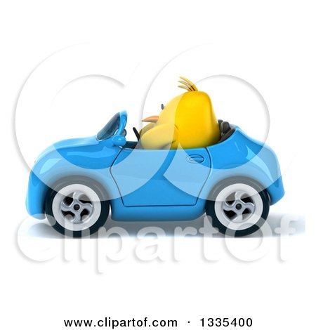 Clipart of a 3d Chubby Yellow Bird Chicken Driving a Blue Convertible Car - Royalty Free Vector Illustration by Julos