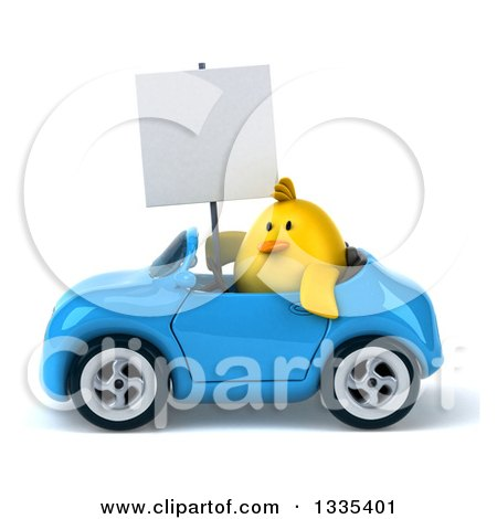 Clipart of a 3d Chubby Yellow Bird Chicken Holding a Blank Sign and Driving a Blue Convertible Car - Royalty Free Vector Illustration by Julos