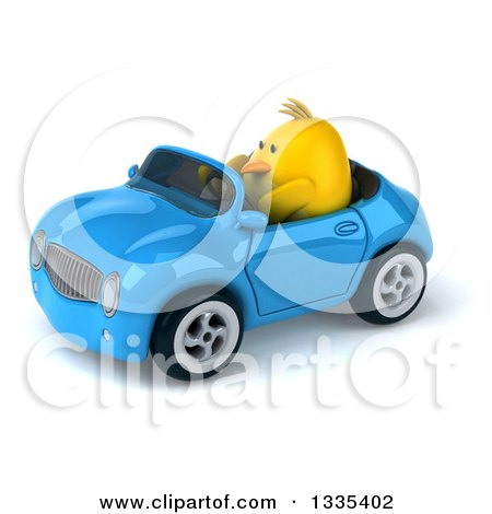 Clipart of a 3d Chubby Yellow Bird Chicken Driving a Blue Convertible Car 2 - Royalty Free Vector Illustration by Julos