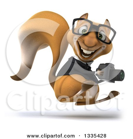 Clipart of a 3d Bespectacled Business Squirrel Facing Right, Hopping and Holding a Camera - Royalty Free Vector Illustration by Julos