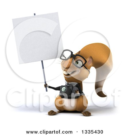 Clipart of a 3d Bespectacled Business Squirrel Holding a Camera and a Blank Sign - Royalty Free Vector Illustration by Julos