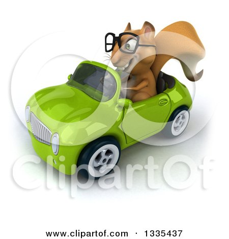 Clipart of a 3d Bespectacled Squirrel Driving a Green Convertible Car 2 - Royalty Free Vector Illustration by Julos