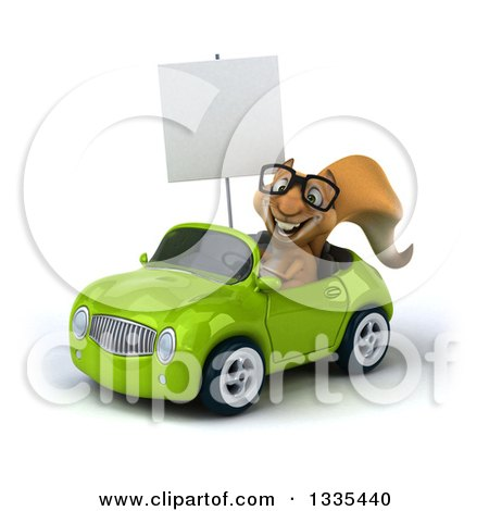 Clipart of a 3d Bespectacled Squirrel Holding a Blank Sign and Driving a Green Convertible Car - Royalty Free Vector Illustration by Julos