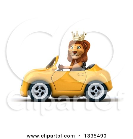 Clipart of a 3d Male Lion King Driving a Yellow Convertible Car 2 - Royalty Free Vector Illustration by Julos