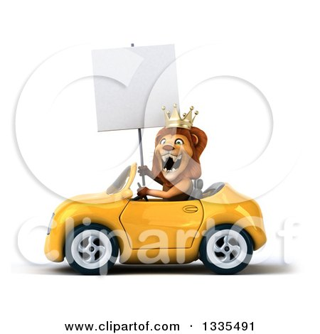 Clipart of a 3d Male Lion King Holding a Blank Sign and Driving a Yellow Convertible Car - Royalty Free Vector Illustration by Julos