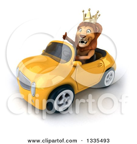 Clipart of a 3d Male Lion King Giving a Thumb up and Driving a Yellow Convertible Car 2 - Royalty Free Vector Illustration by Julos