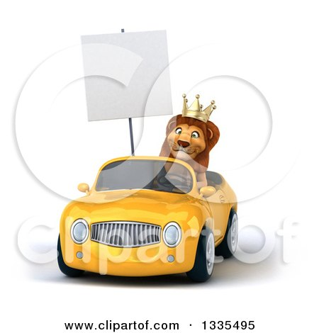 Clipart of a 3d Male Lion King Holding a Blank Sign and Driving a Yellow Convertible Car 3 - Royalty Free Vector Illustration by Julos