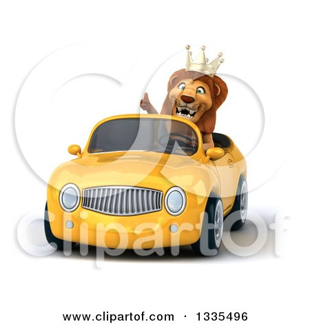 Clipart of a 3d Male Lion King Giving a Thumb up and Driving a Yellow Convertible Car - Royalty Free Vector Illustration by Julos