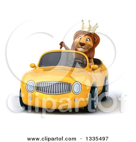 Clipart of a 3d Male Lion King Giving a Thumb down and Driving a Yellow Convertible Car - Royalty Free Vector Illustration by Julos