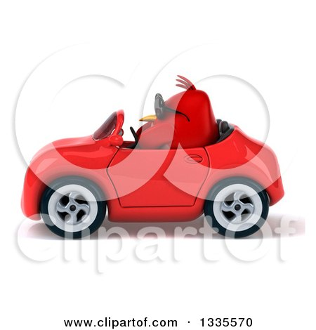 Clipart of a 3d Chubby Red Bird Wearing Sunglasses and Driving a Red Convertible Car - Royalty Free Vector Illustration by Julos