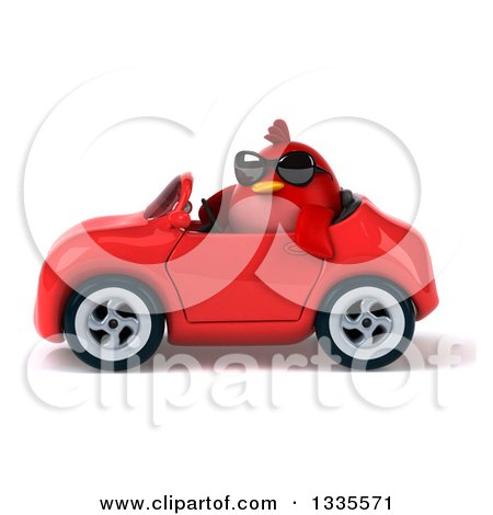 Clipart of a 3d Chubby Red Bird Wearing Sunglasses and Driving a Red Convertible Car 2 - Royalty Free Vector Illustration by Julos