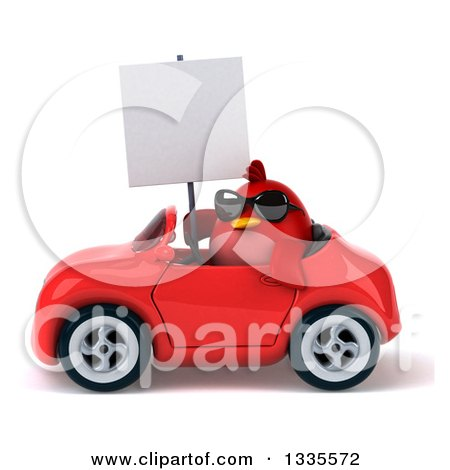 Clipart of a 3d Chubby Red Bird Wearing Sunglasses, Holding a Blank Sign and Driving a Red Convertible Car - Royalty Free Vector Illustration by Julos