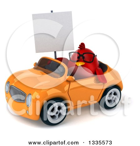 Clipart of a 3d Chubby Red Bird Wearing Glasses, Holding a Blank Sign and Driving an Orange Convertible Car - Royalty Free Vector Illustration by Julos