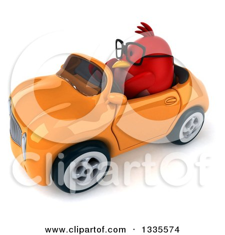Clipart of a 3d Chubby Red Bird Wearing Glasses and Driving an Orange Convertible Car - Royalty Free Vector Illustration by Julos