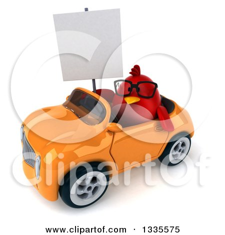 Clipart of a 3d Chubby Red Bird Wearing Glasses, Holding a Blank Sign and Driving an Orange Convertible Car 2 - Royalty Free Vector Illustration by Julos