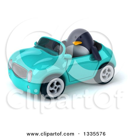Clipart of a 3d Penguin Driving a Turquoise Convertible Car 3 - Royalty Free Vector Illustration by Julos