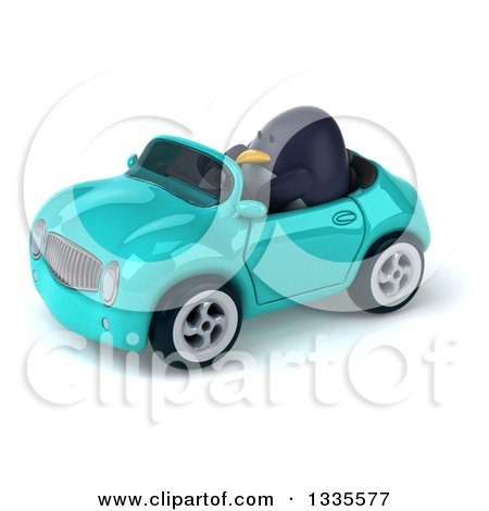Clipart of a 3d Penguin Driving a Turquoise Convertible Car 2 - Royalty Free Vector Illustration by Julos