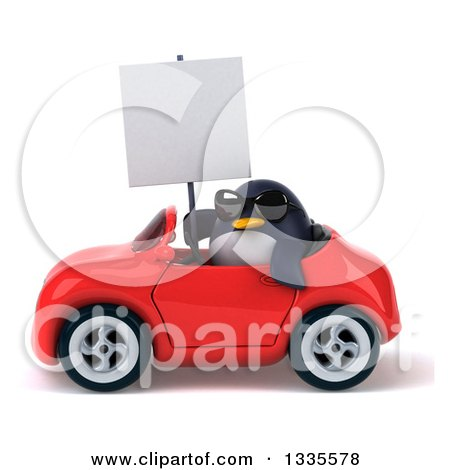 Clipart of a 3d Penguin Wearing Sunglasses, Holding a Blank Sign and Driving a Red Convertible Car - Royalty Free Vector Illustration by Julos
