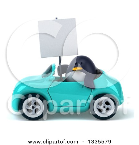 Clipart of a 3d Penguin Holding a Blank Sign and Driving a Turquoise Convertible Car - Royalty Free Vector Illustration by Julos
