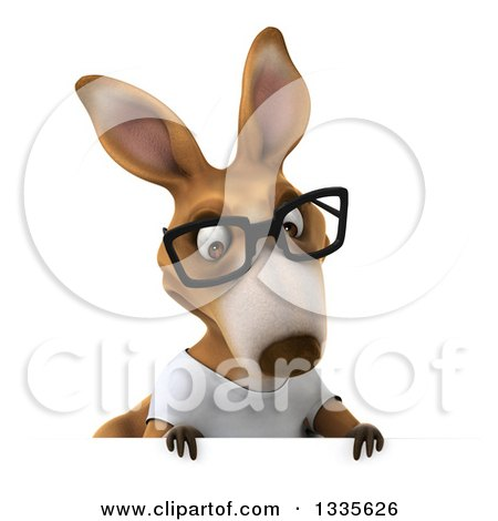Clipart of a 3d Bespectacled Casual Kangaroo Wearing a White Tee Shirt and Looking down over a Sign - Royalty Free Vector Illustration by Julos