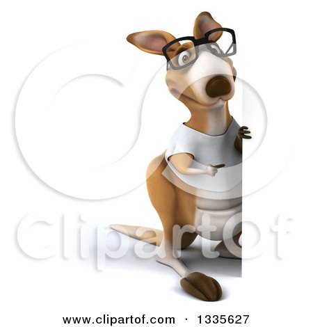 Clipart of a 3d Full Length Bespectacled Casual Kangaroo Wearing a White Tee Shirt and Pointing Around a Sign - Royalty Free Vector Illustration by Julos
