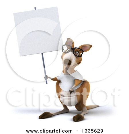 Clipart of a 3d Bespectacled Casual Kangaroo Wearing a White Tee Shirt and Holding up a Blank Sign - Royalty Free Vector Illustration by Julos