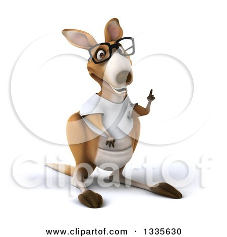 Clipart of a 3d Bespectacled Casual Kangaroo Wearing a White Tee Shirt and Holding up a Finger - Royalty Free Vector Illustration by Julos
