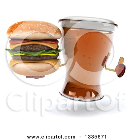 Clipart of a 3d Beer Mug Character Giving a Thumb up and Holding a Double Cheeseburger - Royalty Free Illustration by Julos