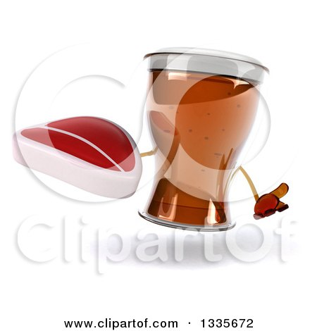 Clipart of a 3d Beer Mug Character Shrugging and Holding a Beef Steak - Royalty Free Illustration by Julos