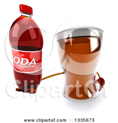 Clipart of a 3d Beer Mug Character Holding up a Soda Bottle - Royalty Free Illustration by Julos