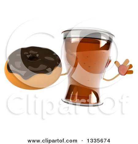 Clipart of a 3d Beer Mug Character Jumping and Holding a Chocolate Glazed Donut - Royalty Free Illustration by Julos
