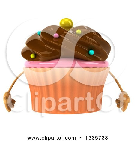 Clipart of a 3d Chocolate Frosted Cupcake Character with Sprinkles - Royalty Free Illustration by Julos