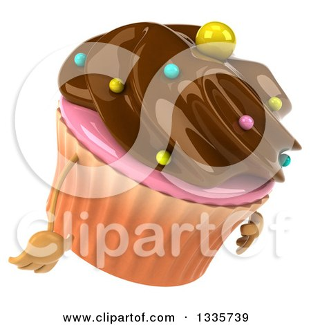 Clipart of a 3d Chocolate Frosted Cupcake Character Facing Right and Pouting - Royalty Free Illustration by Julos
