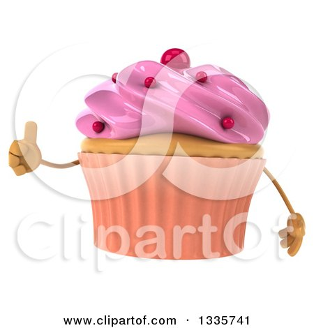 Clipart of a 3d Pink Frosted Cupcake Character Giving a Thumb up - Royalty Free Illustration by Julos